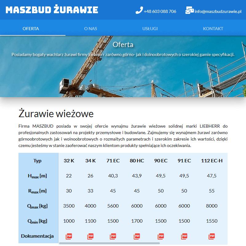 Wynajem żurawi wieżowych - Łódź